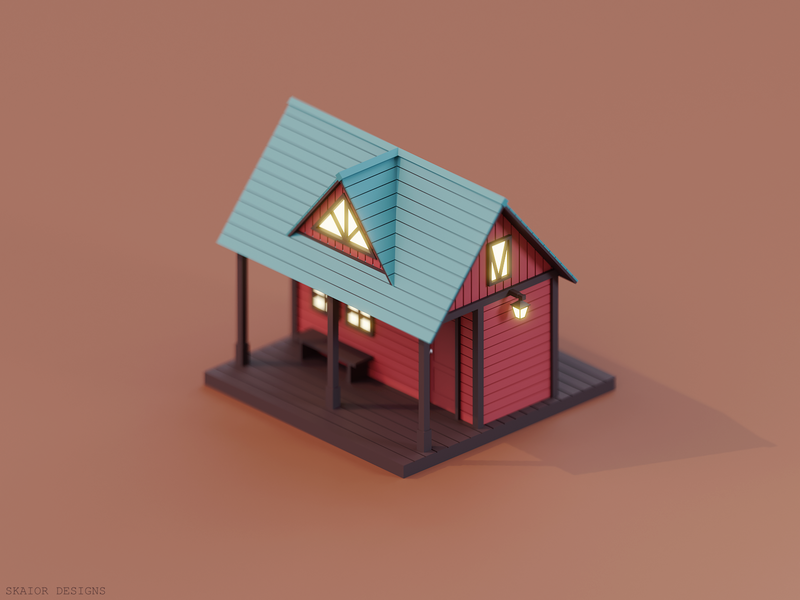 Low Poly Cottage architecture blue barn red cottage house diorama low poly lowpoly isometric 3d modeling illustration blender3d blender