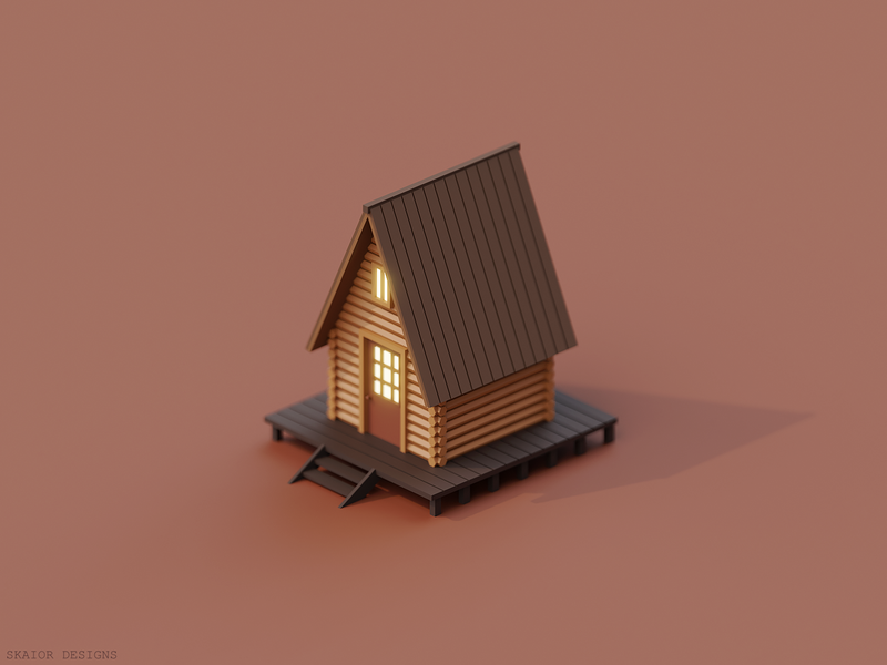 Low Poly Isometric Cabin architecture 3dart illustration diorama 3d low poly lowpoly isometric blender3d blender wooden brown wood cabin