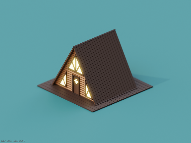 Low Poly Triangle Cabin architecture brown 3d art 3d house low poly illustration diorama wooden wood cabin triangle lowpoly isometric blender3d blender