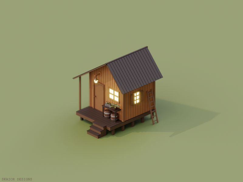 Low Poly Isometric Cabin wooden plant barrel lantern architecture 3d art house cabin illustration diorama 3d low poly lowpoly isometric blender