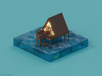 Low Poly Isometric Cabin on Water