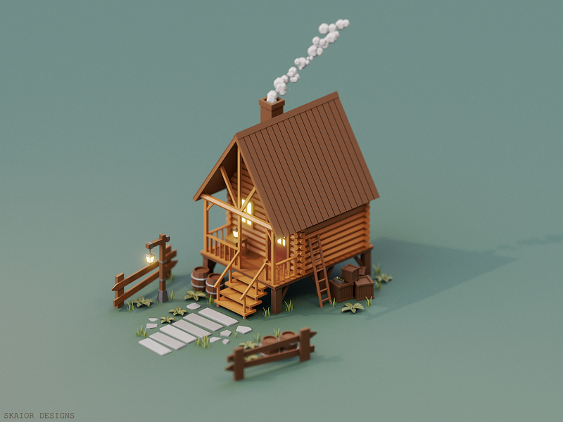 Low Poly Isometric Cabin home house fence brown wood wooden lantern crate barrel cabin illustration 3d diorama blender3d low poly lowpoly isometric blender