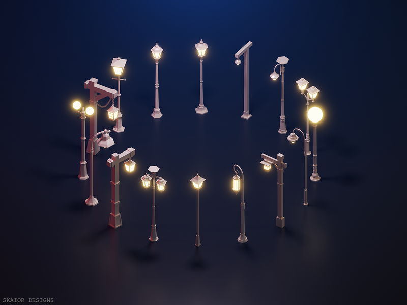 Low Poly Street Lamps lamp post 3d modeling lighting 3d lantern modern medieval lamp street lamp light illustration low poly lowpoly isometric blender
