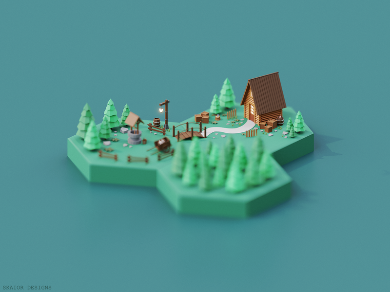 Low Poly Isometric Cabin Hex Scene crates barrel green wood trees lantern woods well 4x hexagon hex cabin diorama illustration 3d low poly lowpoly isometric blender