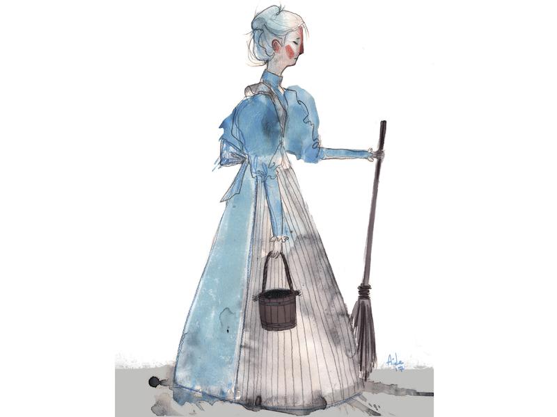 Cinderella watercolor childrens illustration childrens book sketch character design illustration artwork art