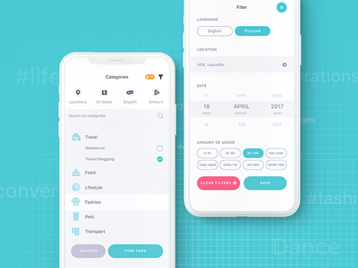 Dribble Hh illustration animation minimalism counter filter categories advertisement tag app ios