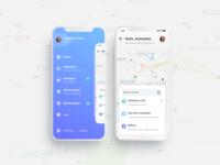Parking App design profile navigation input car counter sidemenu menu map location parking pick up minimalism ux ui ios