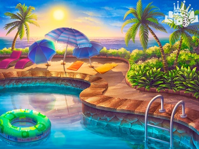 A Pool as slot game background background development background developers background illustration background design background art backgrounds background slot machine illustration graphic design slot machines gambling game art game design