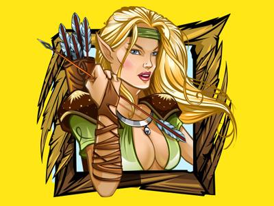 "Slot machine - ""Legendlore"" bow pixie gryphon goblins fantasy adventure action magic design slot game slot game design slot design slot machines online casino vector sketches 2d design art"