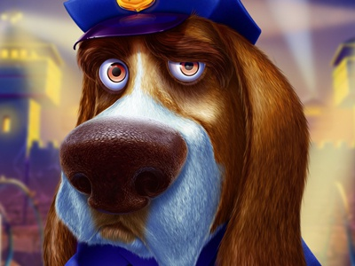 Dog-policeman badge policeman dog character digital art slot design character design game design graphic design game art