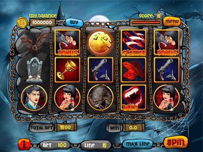 "Slot machine for SALE – ""Vampires vs Werewolves"" skulls bullets gun blood cup vampiress dracula fangs werewolves vampires"