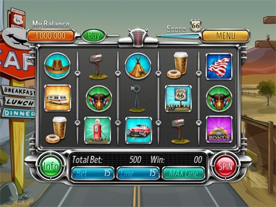 """Slot machine for SALE – """"Route 66"""" route road mailbox hat gas station coffee caravan car cafe cadillac"""