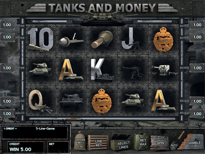 "Slot machine for SALE – ""Tanks and Money"" corps field fire sacks buildings badge machine gun artillery grenade battle war tanks"