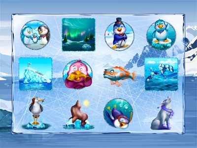 "Slot machine for SALE – ""The Freezing World"" scarf polar lights penguin mask iceberg fur-seal freezing fish diving"