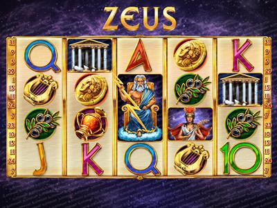 "Slot machine for SALE – ""Zeus"" golden gods coin temple vase amphora greek ancient mythology olives harp zeus"