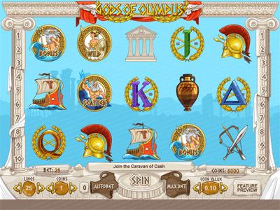"""Slot machine for SALE – """"Gods of Olympus"""" greek ancient amphora ship athena poseidon zeus trident wreath mythology olympus gods"""