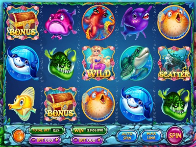 "Slot machine for SALE – ""Undersea"" underwater. ship sea rod-fish octopus ocean mermaid fish depth clams chest box"