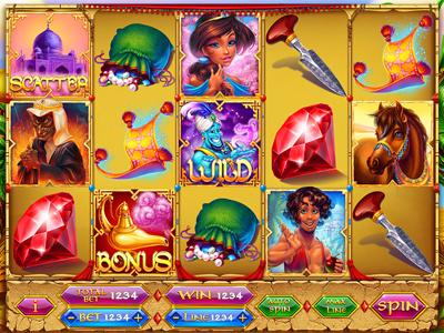 "Slot machine for SALE – ""Alladin"" ruby princess pouch lamp jewels jasmin horse gin gems carpet plane amphora alladin"