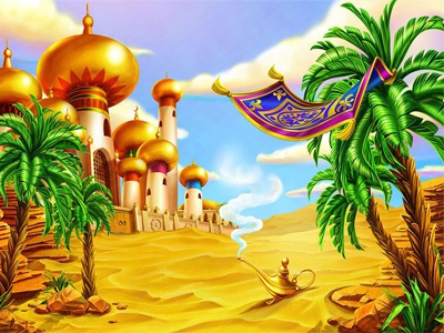 Main Background for online Slot Machine princess lamp jewels jasmin jaffar horse gin gems dagger carpet plane amphora alladin