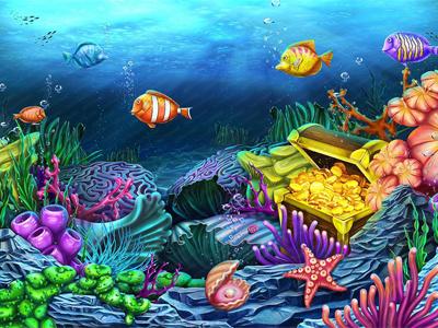 Illustration for online Slot - Undersea underwater ship sea rod-fish octopus ocean mermaid fish depth clams chest box