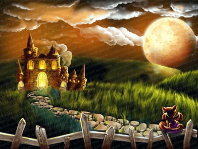 Illustration for slot game - Background skull emblem ribbon book pumpkin demoness werewolf broom witch fire pot potion wings cat night moon halloween holidays fortune freaks