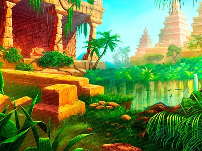 "Main Illustration for online slot game - ""India Dreams"" arrows bow monkey island taj taj mahal cobra snake tiger elephant india"