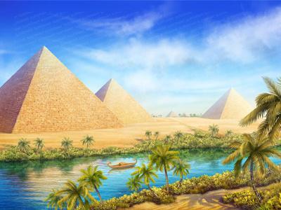 Illustration Image for online Casino Slot sphynx river palms statues sphinx scarab sands ruins pyramids pharaoh mystic gods eye egypt desert cross cats beetle