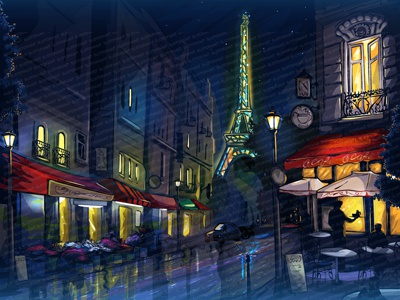 "Main Illustration for online slot game - ""Eiffel Tower"""