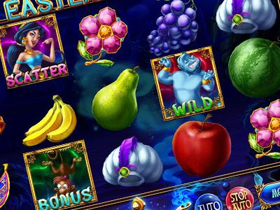 "Online Slot machine for SALE – ""Eastern Tale"" grape pear watemelon apple bananas fruits ruby princess pouch lamp jewels jasmin horse gin gems plan carpet amphora alladin"
