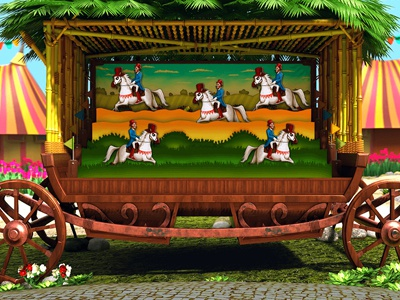 Illustration of the Bonus Game for online slot wheel of fortune wheel luna park juggler horse clown circus performer circus carousel car bonus game bonus balancer attractions attraction acrobat