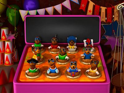Image of Bonus Game for the Casino video slot moles mole wheel of fortune wheel luna park juggler horse clown circus performer circus carousel car bonus game bonus balancer attractions attraction acrobat