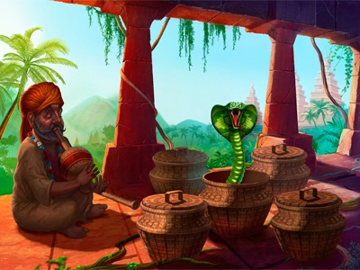 "Additional illustration Image for casino slot - ""India Dreams"" lotus yogi spices snake charmer flute taxi elephants basket dirk dagger tiger taj mahal taj snake monkey india elephant cobra bow arrows"