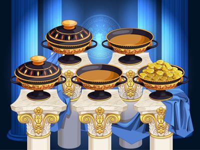 Bonus Game Illustration for the slot game zeus wreath trident ship poseidon olympus mythology greek gods athena ancient amphora