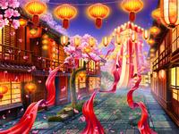 """Main Background for the online slot """"Summer Festival"""""""