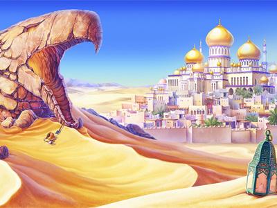 Aladdin Slot game - Main Background monkey aladdin vizier ruby princess pouch lamp jewels jasmin jaffar horse gin gems dagger carpet plane amphora