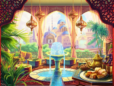 Additional Background for the online casino slot arabian night arab monkey lamp jewels jasmin jaffar horse gin carpet plane amphora aladdin back background slot machine concept art illustration game design game art gambling