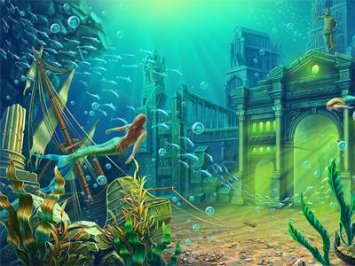 "Additional background for Online casino slot ""Poseidon"""