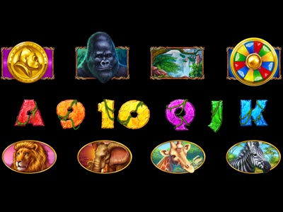 Set of slot symbols on Wild Nature Theme lion gorilla wild animals animal art animal beasts beast nature illustration wild objects object symbol set symbols slot machines digital art graphic design gambling game art game design