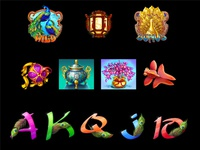 Set of slot symbols of the Oriental Themed slot