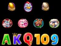Set of slot symbols on Farm Theme