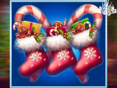 The Christmas socks as a slot symbol