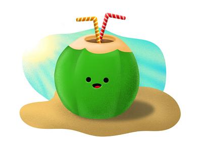 Coconut Summer - Illustration🌴🏖️ texture brush design graphic design inspiration artwork sketch doodle adobe summer illustrator digital art illustration procreate