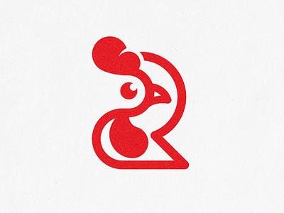 R for Rooster Logo Mark 🐓®️ restaurant modern logo line logo minimal r letter chicken logo illustrator red rooster monogram clean logo logo design logo
