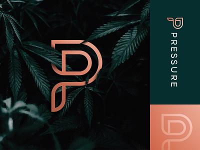 Pressure Premium Flower - Logo Design 🍃 branding monogram p letter identitydesigner smart logo monogram design lettermark weeds brand marijuana logotype design logomark cannabis logo