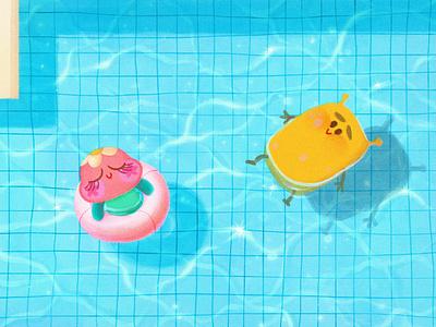 Just keep swimming! 🏊 cute illo original swim characterdesign minimal illustration design animation