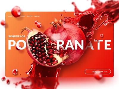 Pomegranate concept berries pomegranate branding ui web design concept