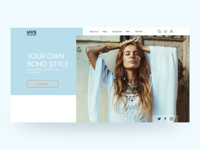 Your own boho style concept first screen advertising instagram web design advertisement minimal web design concept ui
