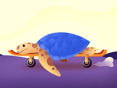 Turtle on skateboard illustration tutorial animation asset uidesign uiux ui illustrator digitalartist procreate tutorials illustration skateboard turtle galshir