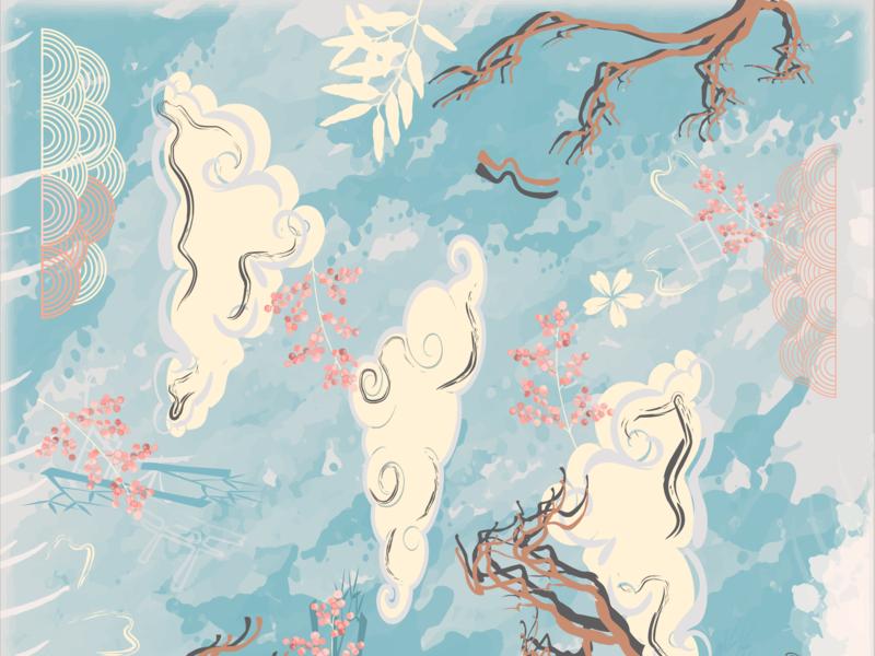 Japan Scarves Pattern art pattern artist ilustrator illustration adobe illustrator design