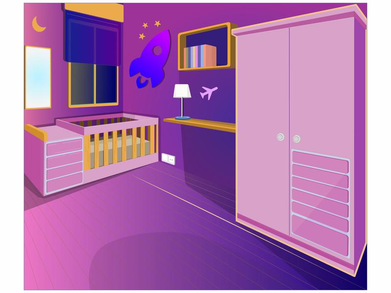 SpaceShip Baby Room affinitydesigner architecture art vector artist ilustrator illustration design